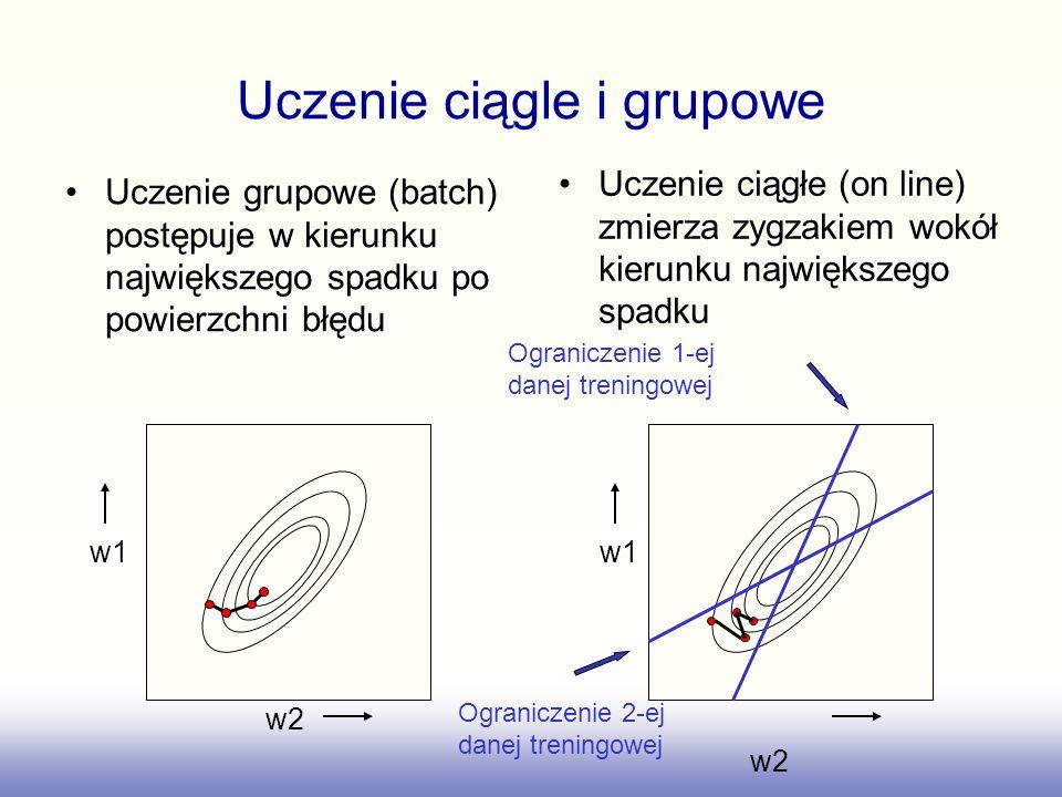 Uczenie grupowe (batch) postępuje w kierunku największego spadku po powierzchni błędu Uczenie ciągłe (on line) zmierza zygzakiem wokół kierunku najwię