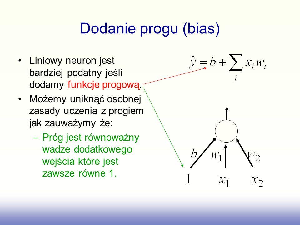 Dodanie progu (bias) Liniowy neuron jest bardziej podatny jeśli dodamy funkcje progową. Możemy uniknąć osobnej zasady uczenia z progiem jak zauważymy