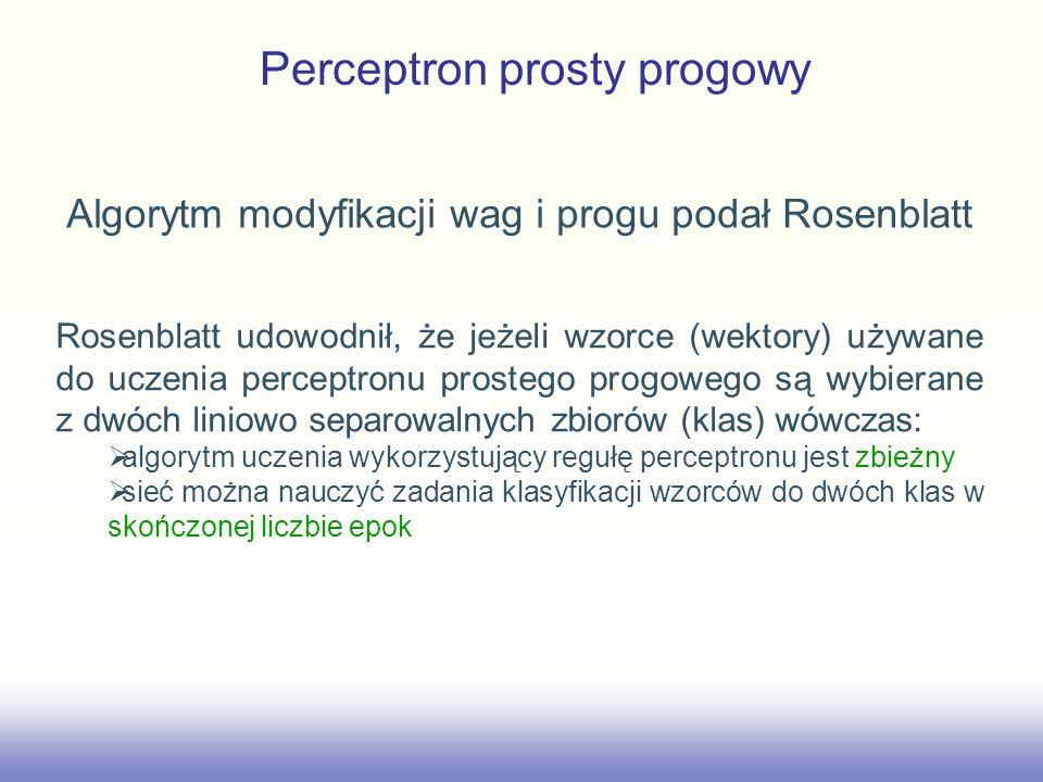 Perceptron prosty progowy Algorytm modyfikacji wag i progu podał Rosenblatt Rosenblatt udowodnił, że jeżeli wzorce (wektory) używane do uczenia percep