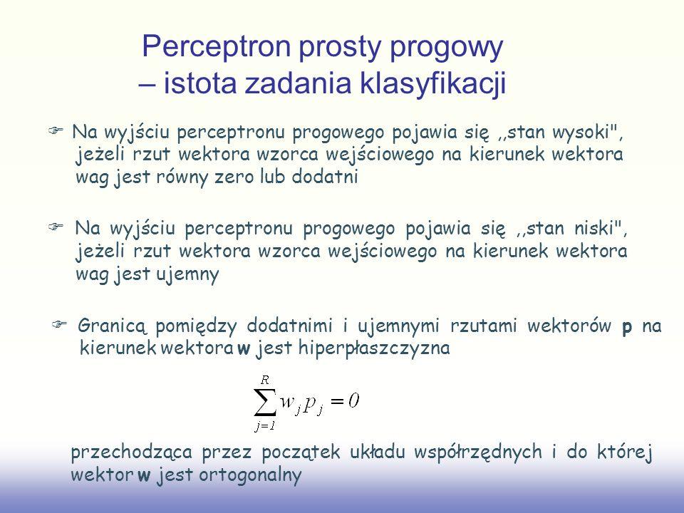 Perceptron prosty progowy – istota zadania klasyfikacji Na wyjściu perceptronu progowego pojawia się,,stan wysoki