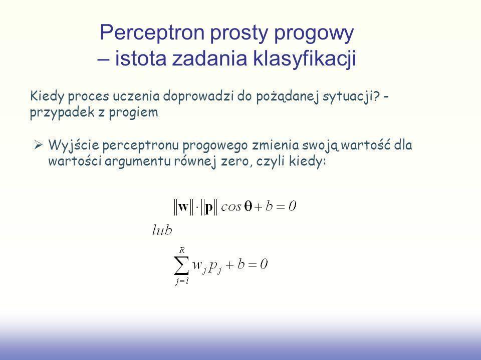Kiedy proces uczenia doprowadzi do pożądanej sytuacji? - przypadek z progiem Wyjście perceptronu progowego zmienia swoją wartość dla wartości argument
