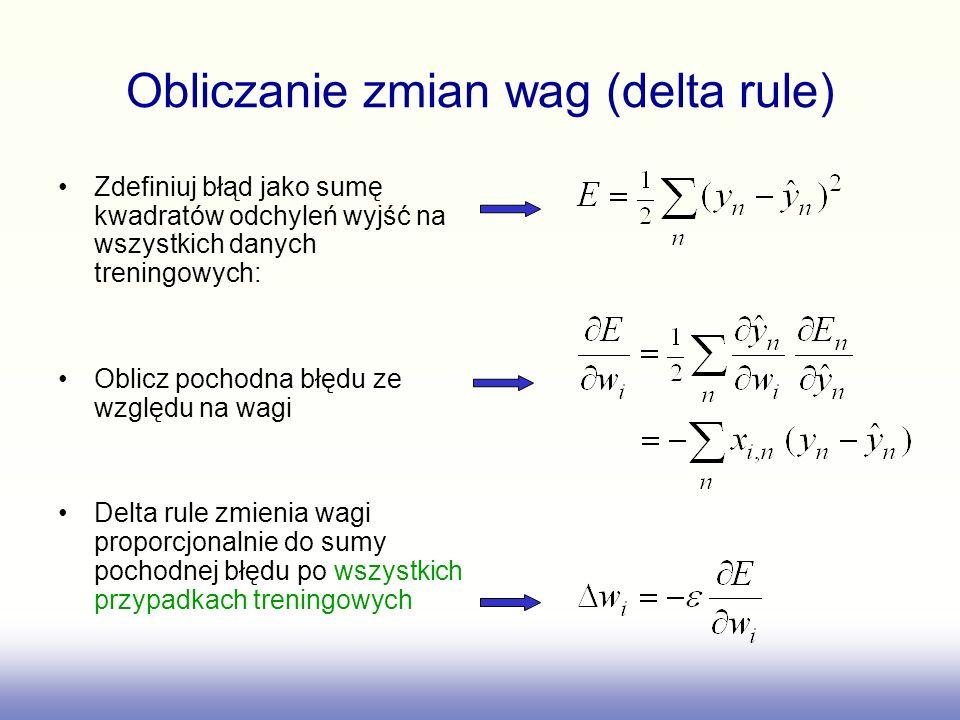 Obliczanie zmian wag (delta rule) Zdefiniuj błąd jako sumę kwadratów odchyleń wyjść na wszystkich danych treningowych: Oblicz pochodna błędu ze względ