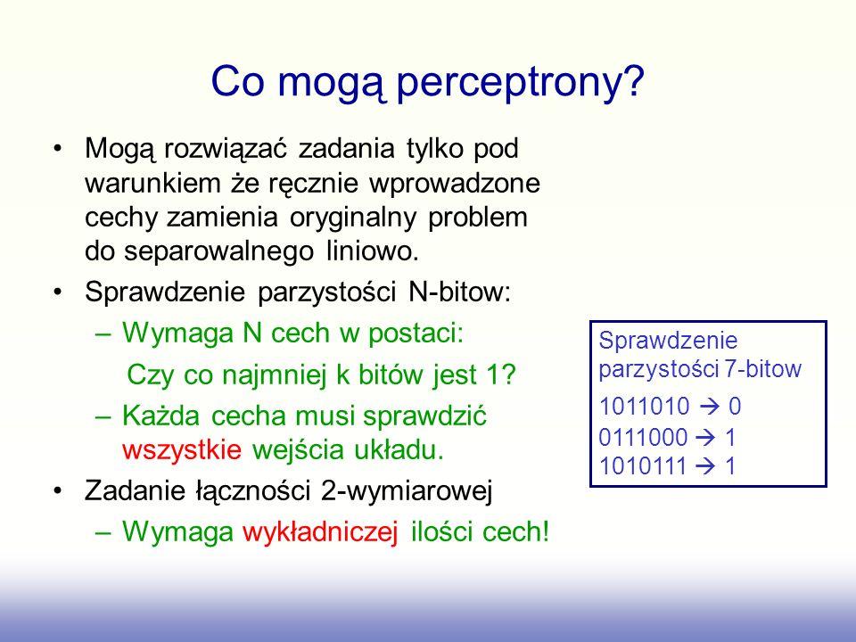 Co mogą perceptrony? Mogą rozwiązać zadania tylko pod warunkiem że ręcznie wprowadzone cechy zamienia oryginalny problem do separowalnego liniowo. Spr