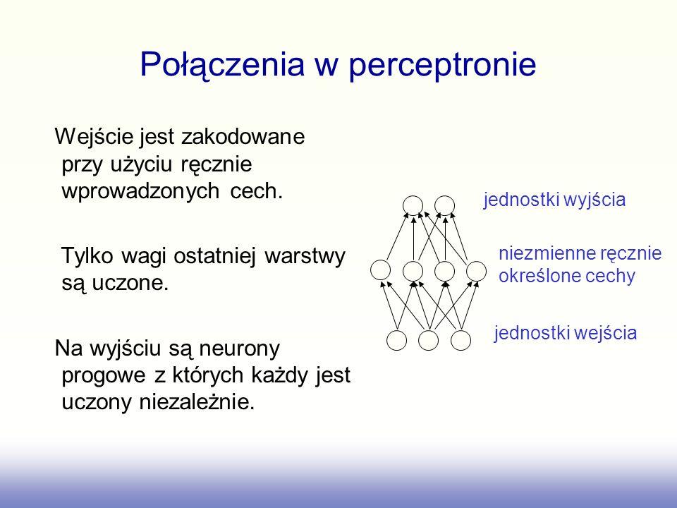 Połączenia w perceptronie Wejście jest zakodowane przy użyciu ręcznie wprowadzonych cech. Tylko wagi ostatniej warstwy są uczone. Na wyjściu są neuron