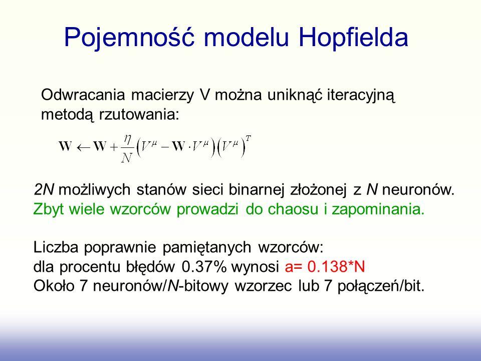 Pojemność modelu Hopfielda Odwracania macierzy V można uniknąć iteracyjną metodą rzutowania: 2N możliwych stanów sieci binarnej złożonej z N neuronów.