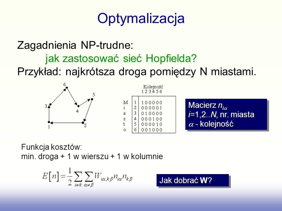 Macierz n i i=1,2..N, nr. miasta - kolejność Jak dobrać W? Optymalizacja Zagadnienia NP-trudne: jak zastosować sieć Hopfielda? Przykład: najkrótsza dr