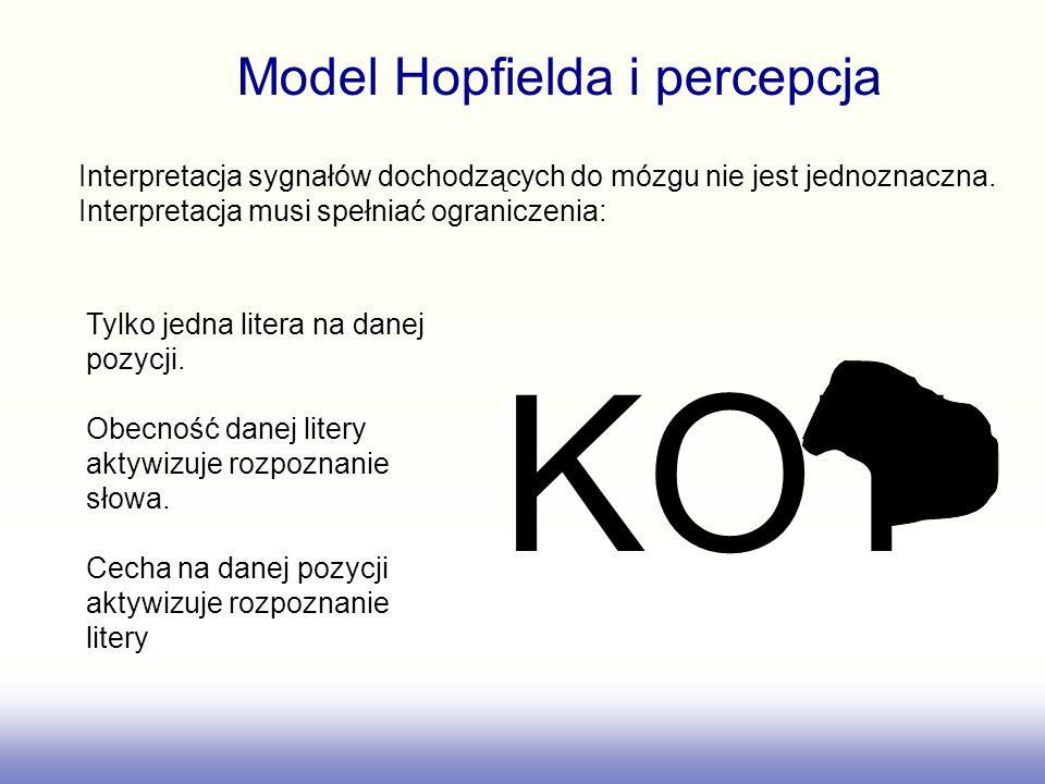 KOT Model Hopfielda i percepcja Interpretacja sygnałów dochodzących do mózgu nie jest jednoznaczna. Interpretacja musi spełniać ograniczenia: Tylko je