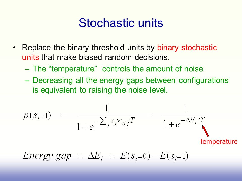 Stochastic units Replace the binary threshold units by binary stochastic units that make biased random decisions. –The temperature controls the amount