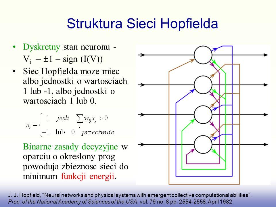 Struktura Sieci Hopfielda Dyskretny stan neuronu - V i = ±1 = sign (I(V)) Siec Hopfielda moze miec albo jednostki o wartosciach 1 lub -1, albo jednost