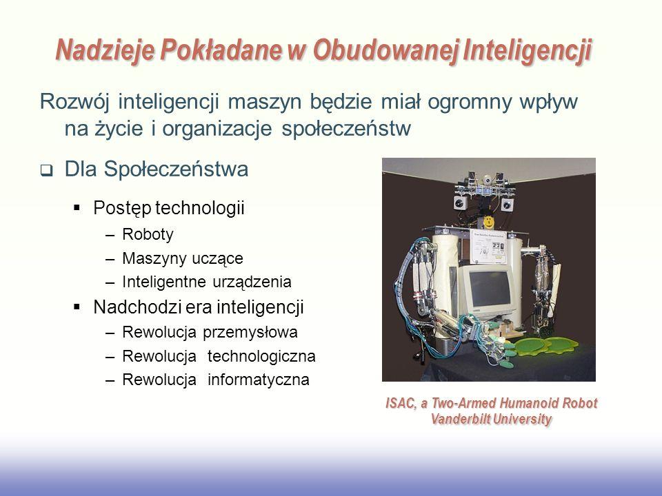 EE141 Nadzieje Pokładane w Obudowanej Inteligencji Rozwój inteligencji maszyn będzie miał ogromny wpływ na życie i organizacje społeczeństw Dla Społeczeństwa Postęp technologii –Roboty –Maszyny uczące –Inteligentne urządzenia Nadchodzi era inteligencji –Rewolucja przemysłowa –Rewolucja technologiczna –Rewolucja informatyczna ISAC, a Two-Armed Humanoid Robot Vanderbilt University