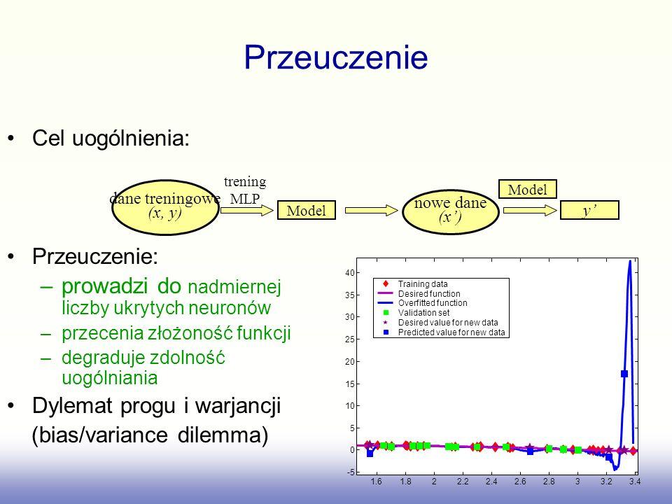 Przeuczenie Cel uogólnienia: Przeuczenie: –prowadzi do nadmiernej liczby ukrytych neuronów –przecenia złożoność funkcji –degraduje zdolność uogólniania Dylemat progu i warjancji (bias/variance dilemma) dane treningowe (x, y) Model trening MLP nowe dane (x) y Model