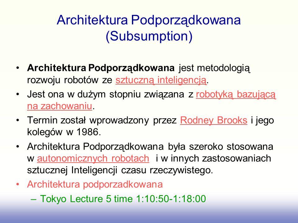 Architektura Podporządkowana (Subsumption) Architektura Podporządkowana jest metodologią rozwoju robotów ze sztuczną inteligencją. Jest ona w dużym st