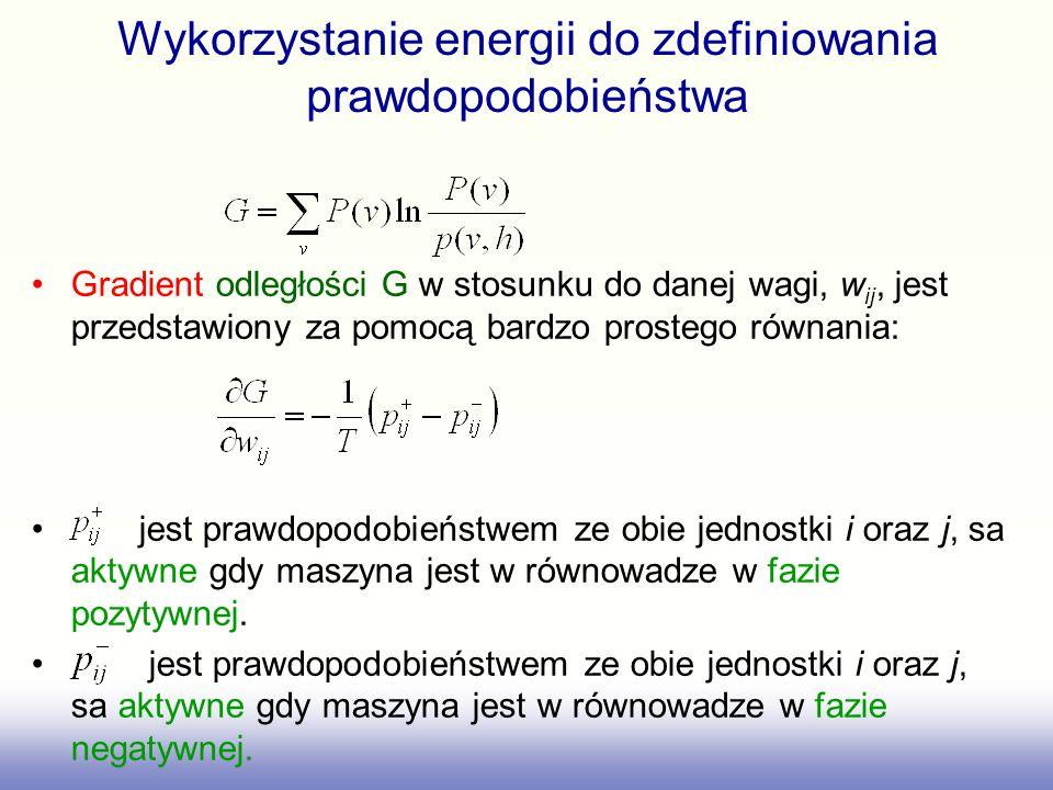 Wykorzystanie energii do zdefiniowania prawdopodobieństwa Gradient odległości G w stosunku do danej wagi, w ij, jest przedstawiony za pomocą bardzo pr