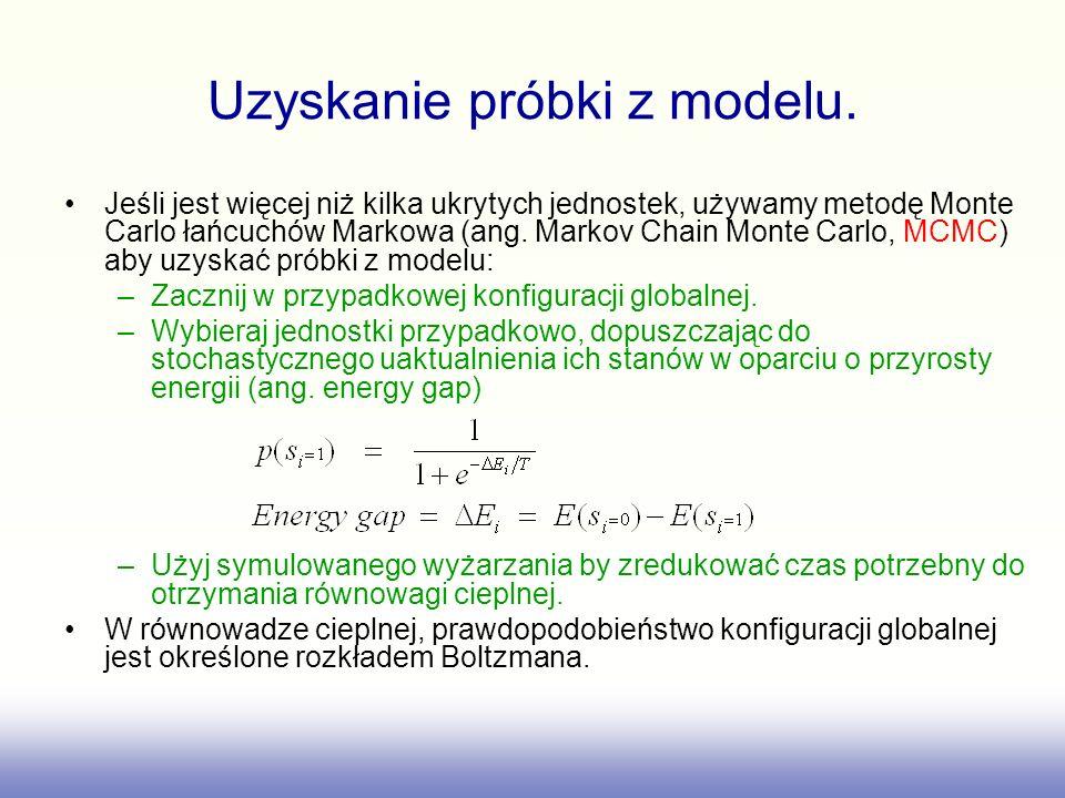 Uzyskanie próbki z modelu. Jeśli jest więcej niż kilka ukrytych jednostek, używamy metodę Monte Carlo łańcuchów Markowa (ang. Markov Chain Monte Carlo