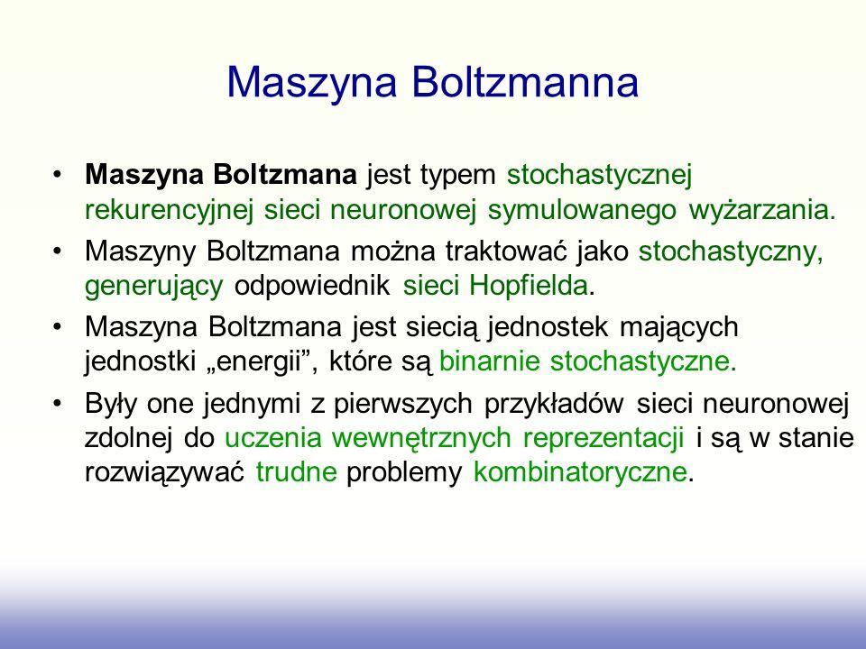 Maszyna Boltzmanna Maszyna Boltzmana jest typem stochastycznej rekurencyjnej sieci neuronowej symulowanego wyżarzania. Maszyny Boltzmana można traktow