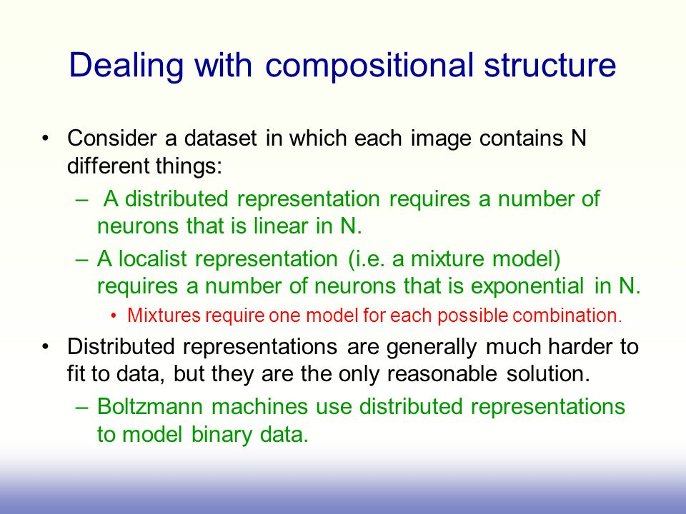 Dealing with compositional structure Consider a dataset in which each image contains N different things: – A distributed representation requires a num