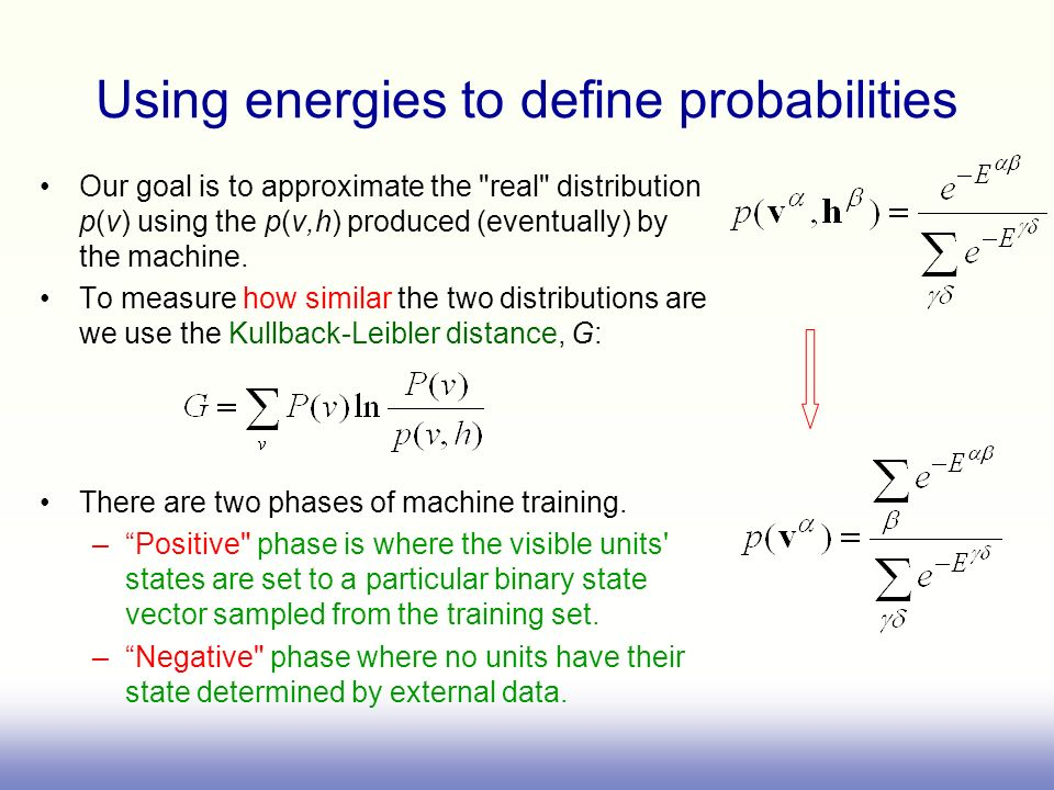 Using energies to define probabilities Our goal is to approximate the