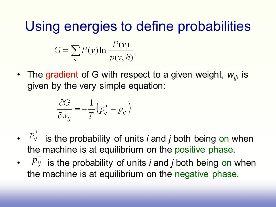 Using energies to define probabilities The gradient of G with respect to a given weight, w ij, is given by the very simple equation: is the probabilit