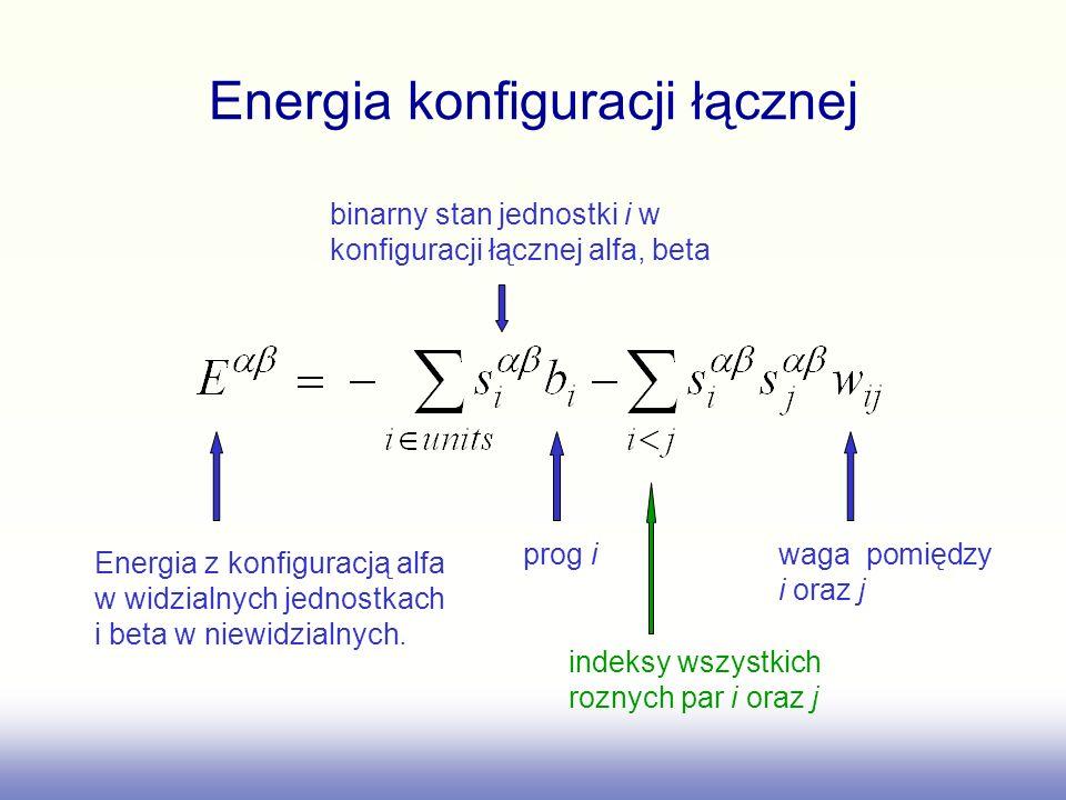 Energia konfiguracji łącznej prog i waga pomiędzy i oraz j Energia z konfiguracją alfa w widzialnych jednostkach i beta w niewidzialnych. binarny stan