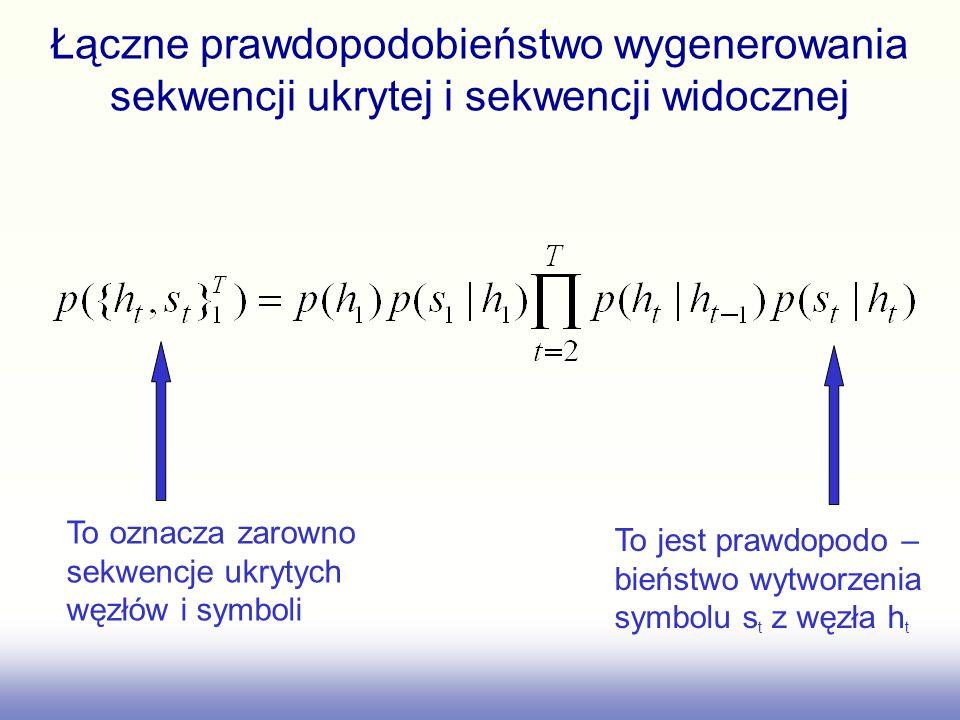 Łączne prawdopodobieństwo wygenerowania sekwencji ukrytej i sekwencji widocznej To oznacza zarowno sekwencje ukrytych węzłów i symboli To jest prawdop