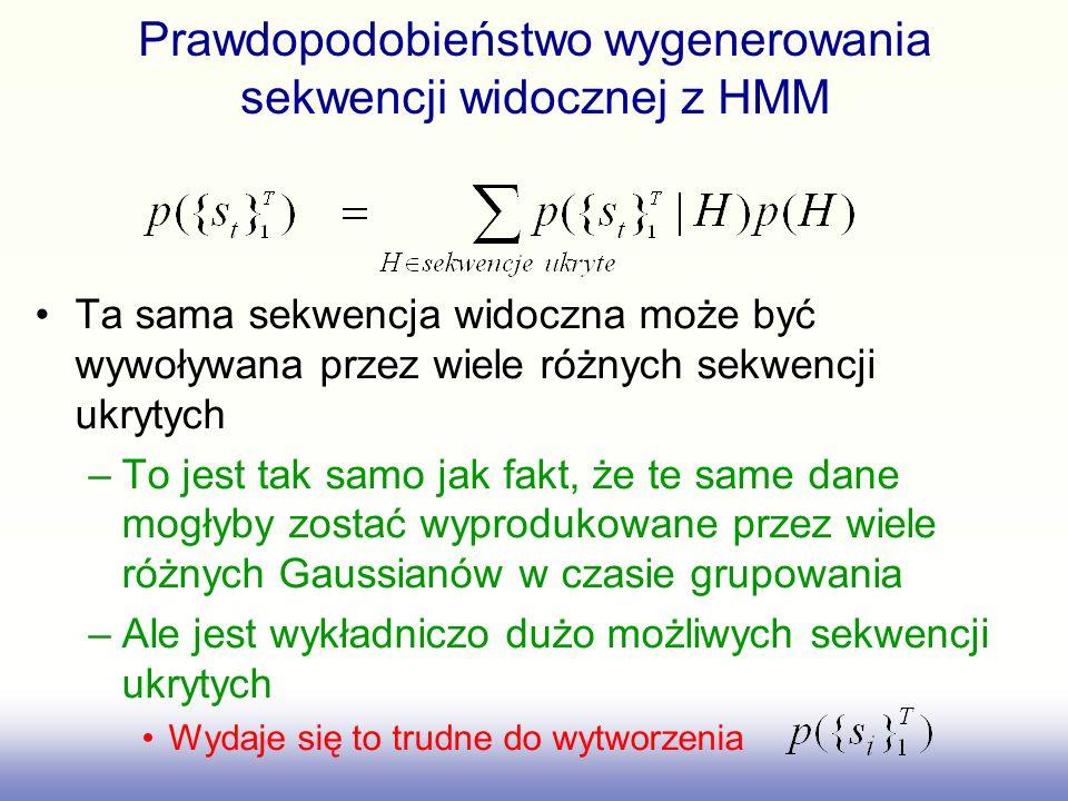 Prawdopodobieństwo wygenerowania sekwencji widocznej z HMM Ta sama sekwencja widoczna może być wywoływana przez wiele różnych sekwencji ukrytych –To j