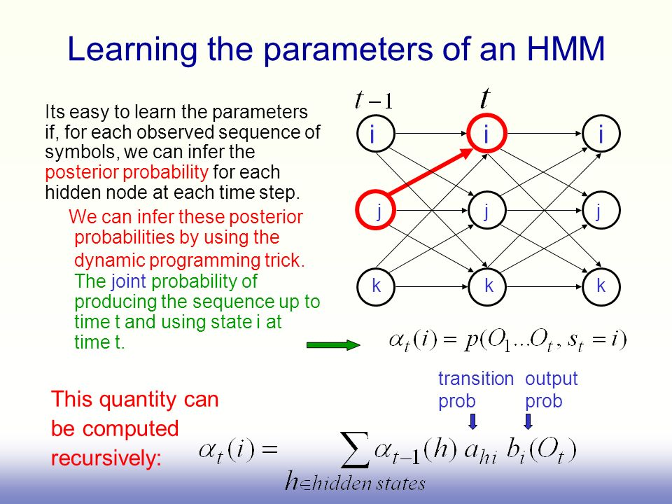 i i i Its easy to learn the parameters if, for each observed sequence of symbols, we can infer the posterior probability for each hidden node at each