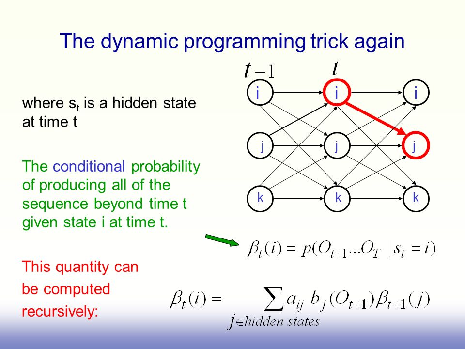 j j j i i i The dynamic programming trick again where s t is a hidden state at time t The conditional probability of producing all of the sequence bey
