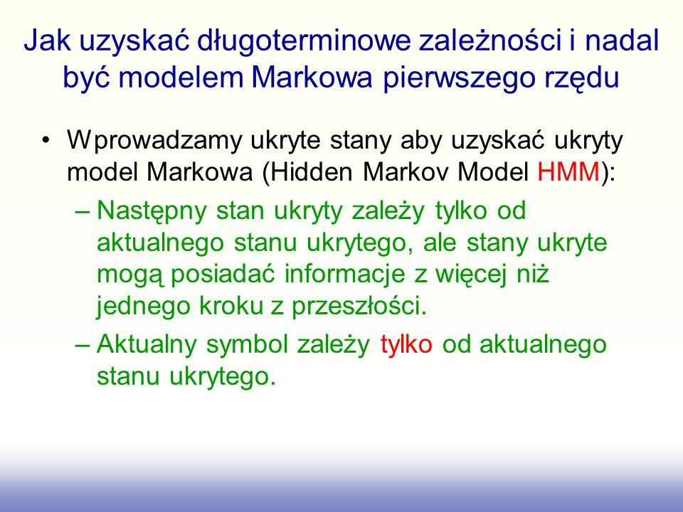 Ukryty model Markowa Każdy węzeł ukryty posiada wektor prawdopodobieństw przejść i wektor prawdopodobieństw wyjściowych..7.7.3.2 0.1 0 i A B C k j.5.1.3.6.4.6 0 0.2.8 Postrzegalne stany wyjściowe Stan ukryty