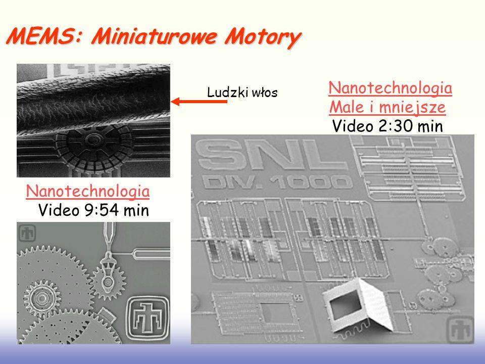MEMS: Miniaturowe Motory Ludzki włos Nanotechnologia Male i mniejsze Video 2:30 min Nanotechnologia Video 9:54 min