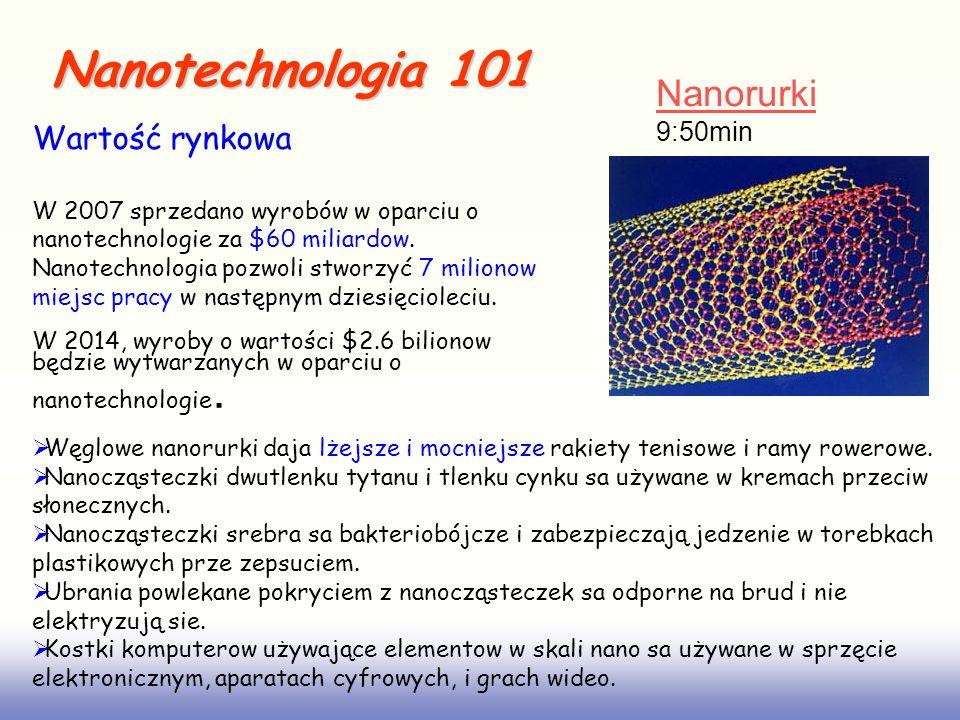 Nanotechnologia 101 Węglowe nanorurki daja lżejsze i mocniejsze rakiety tenisowe i ramy rowerowe. Nanocząsteczki dwutlenku tytanu i tlenku cynku sa uż