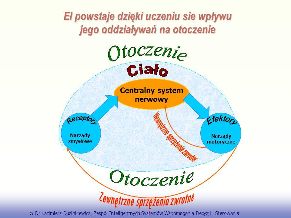 EE141 EI powstaje dzięki uczeniu sie wpływu jego oddziaływań na otoczenie Centralny system nerwowy Narządy zmysłowe Narządy motoryczne Dr Kazimierz Duzinkiewicz, Zespół Inteligentnych Systemów Wspomagania Decyzji i Sterowania