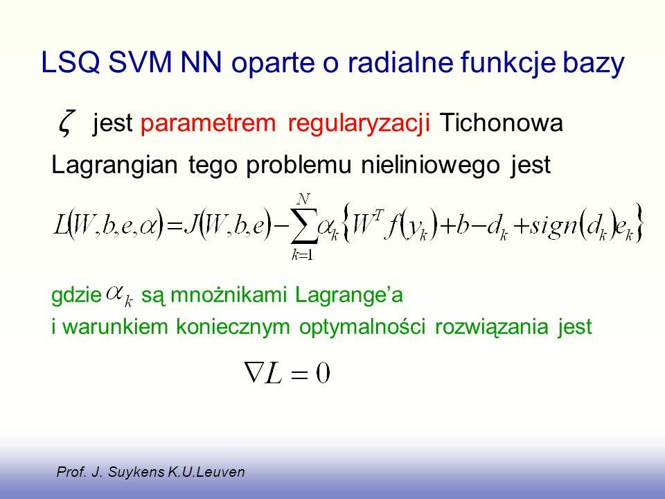Lagrangian tego problemu nieliniowego jest gdzie są mnożnikami Lagrangea i warunkiem koniecznym optymalności rozwiązania jest LSQ SVM NN oparte o radialne funkcje bazy jest parametrem regularyzacji Tichonowa Prof.
