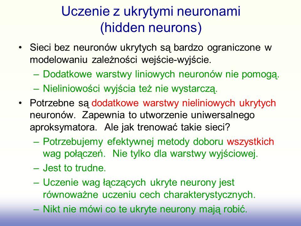 Uczenie z ukrytymi neuronami (hidden neurons) Sieci bez neuronów ukrytych są bardzo ograniczone w modelowaniu zależności wejście-wyjście. –Dodatkowe w