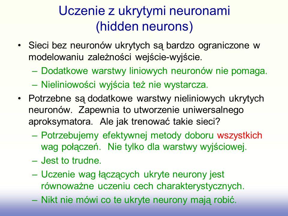 Uczenie z ukrytymi neuronami (hidden neurons) Sieci bez neuronów ukrytych są bardzo ograniczone w modelowaniu zależności wejście-wyjście.