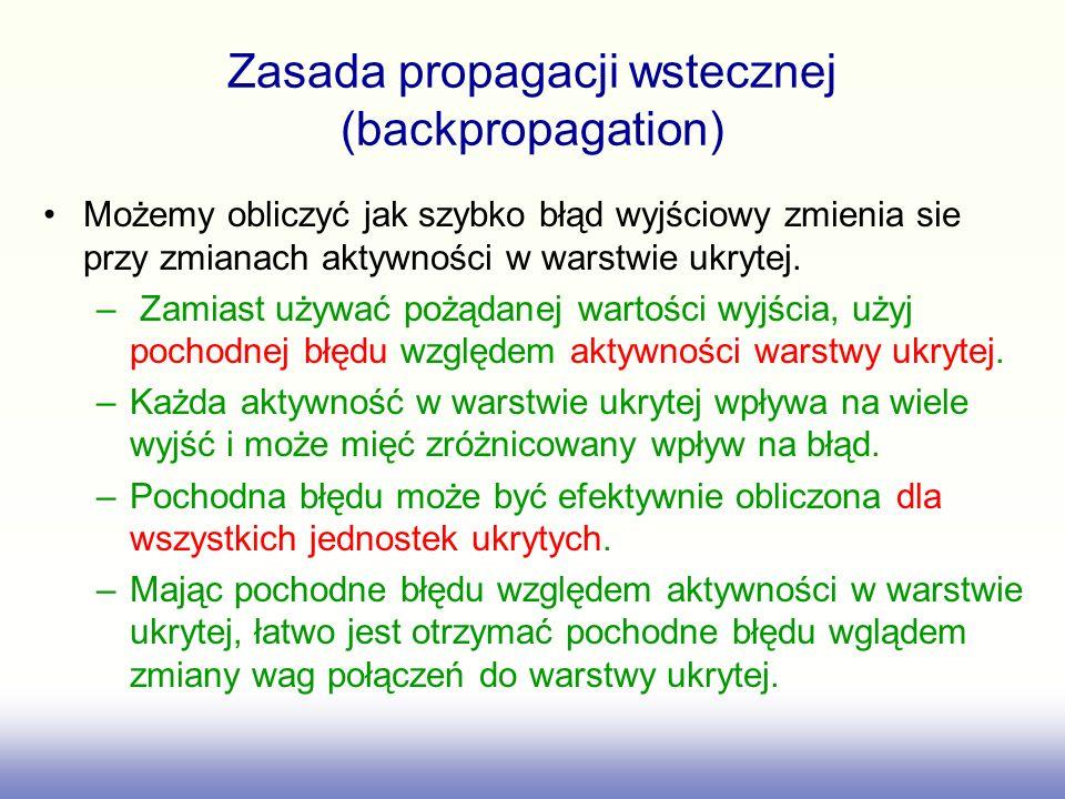 Zasada propagacji wstecznej (backpropagation) Możemy obliczyć jak szybko błąd wyjściowy zmienia sie przy zmianach aktywności w warstwie ukrytej.