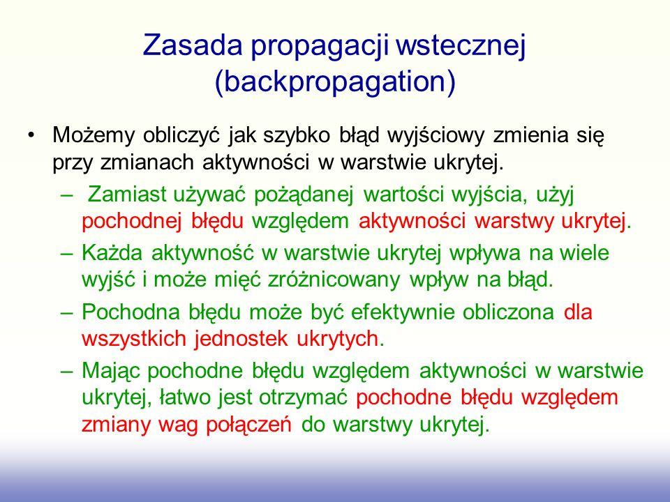 Zasada propagacji wstecznej (backpropagation) Możemy obliczyć jak szybko błąd wyjściowy zmienia się przy zmianach aktywności w warstwie ukrytej.