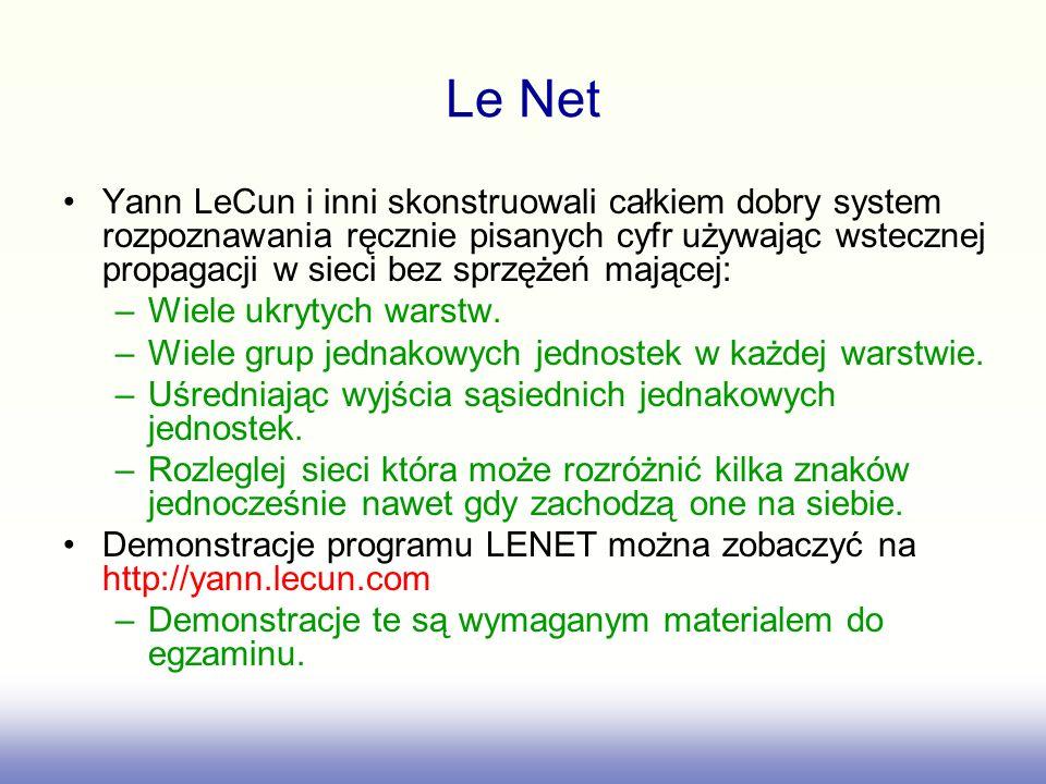 Le Net Yann LeCun i inni skonstruowali całkiem dobry system rozpoznawania ręcznie pisanych cyfr używając wstecznej propagacji w sieci bez sprzężeń mającej: –Wiele ukrytych warstw.