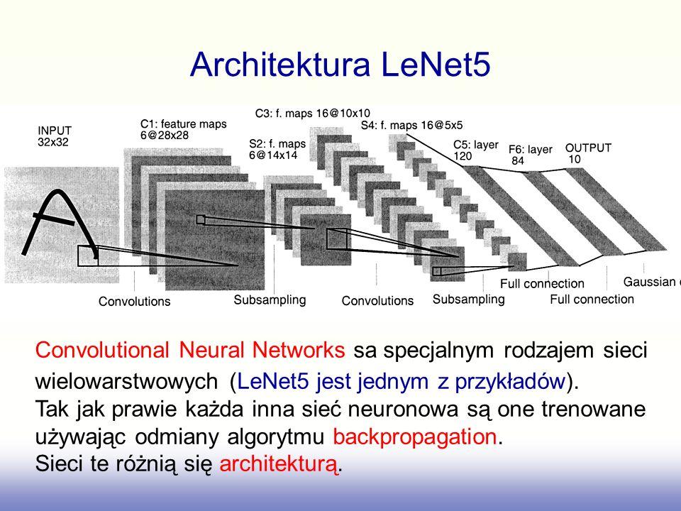 Architektura LeNet5 Convolutional Neural Networks sa specjalnym rodzajem sieci wielowarstwowych (LeNet5 jest jednym z przykładów).