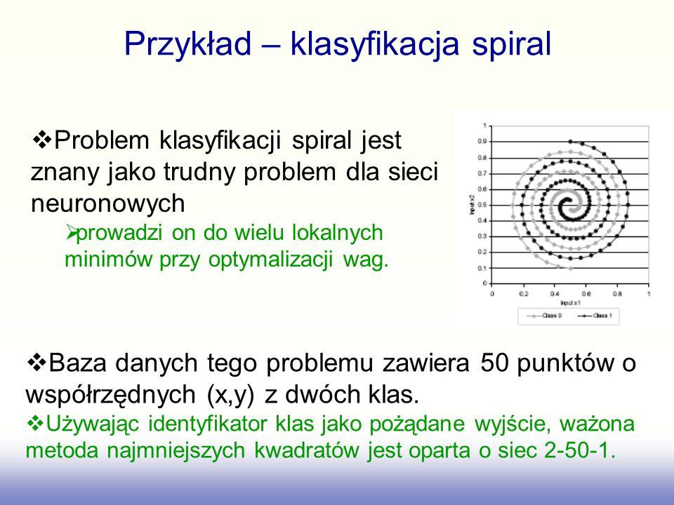 Przykład – klasyfikacja spiral Problem klasyfikacji spiral jest znany jako trudny problem dla sieci neuronowych prowadzi on do wielu lokalnych minimów przy optymalizacji wag.