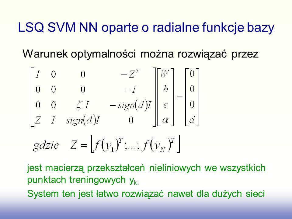 LSQ SVM NN oparte o radialne funkcje bazy Warunek optymalności można rozwiązać przez jest macierzą przekształceń nieliniowych we wszystkich punktach treningowych y k.