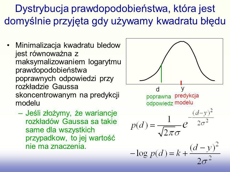 Dystrybucja prawdopodobieństwa, która jest domyślnie przyjęta gdy używamy kwadratu błędu Minimalizacja kwadratu bledow jest równoważna z maksymalizowa