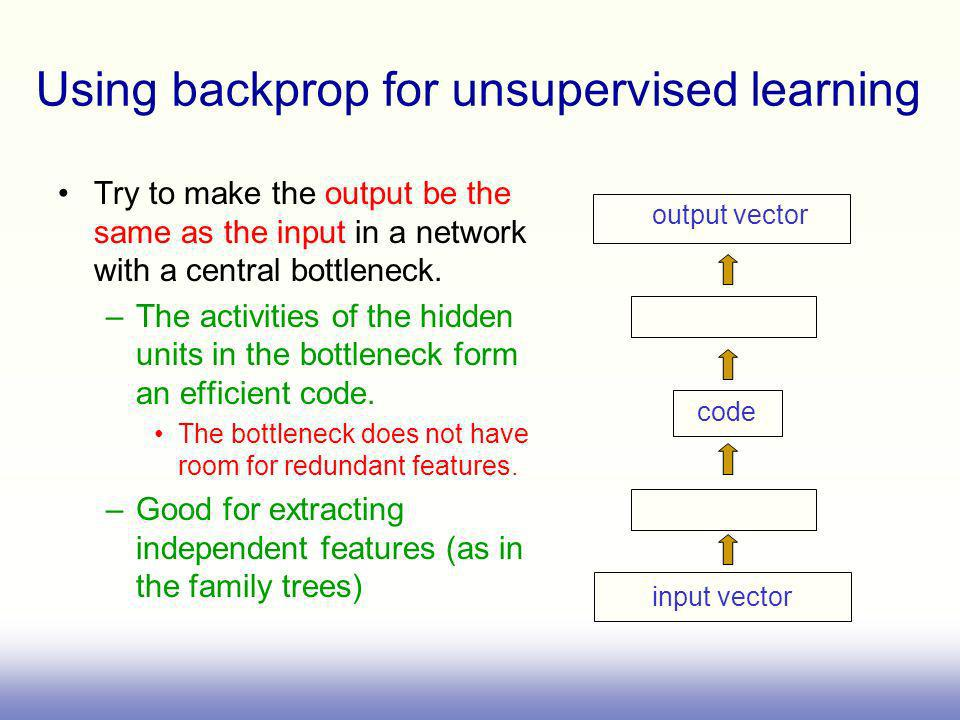 Using backprop for unsupervised learning Try to make the output be the same as the input in a network with a central bottleneck. –The activities of th