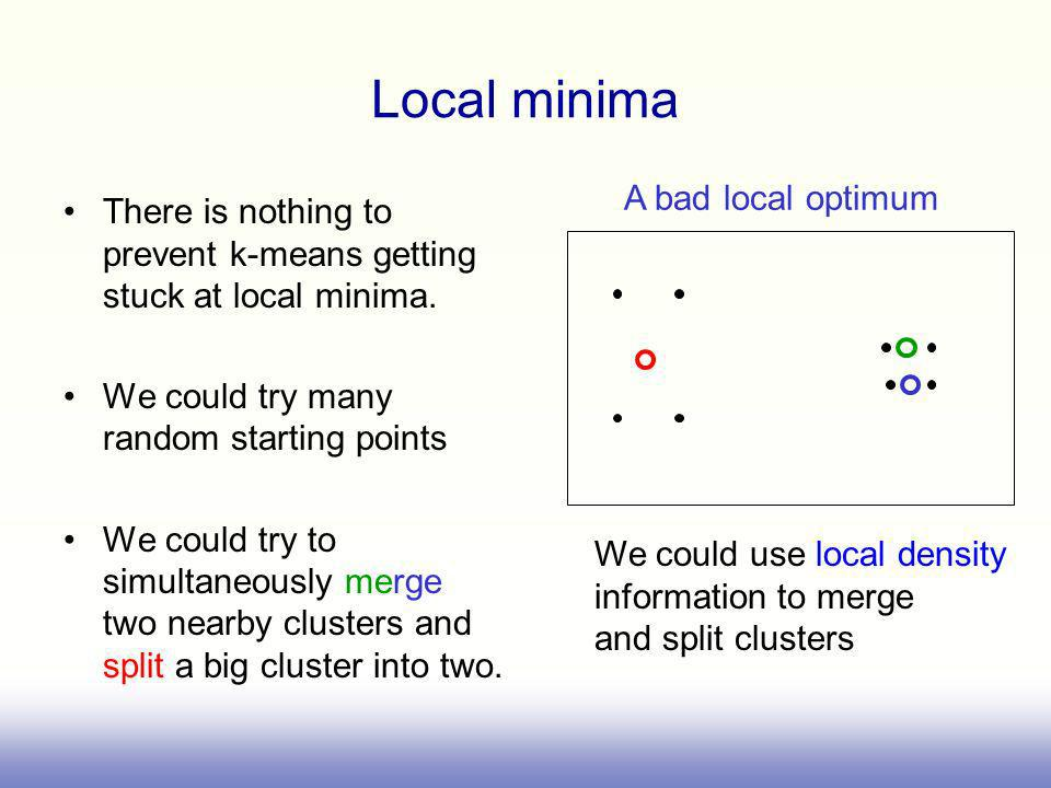 Local minima There is nothing to prevent k-means getting stuck at local minima.