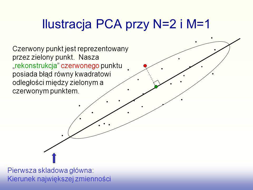 Ilustracja PCA przy N=2 i M=1 Pierwsza skladowa główna: Kierunek największej zmienności Czerwony punkt jest reprezentowany przez zielony punkt. Naszar