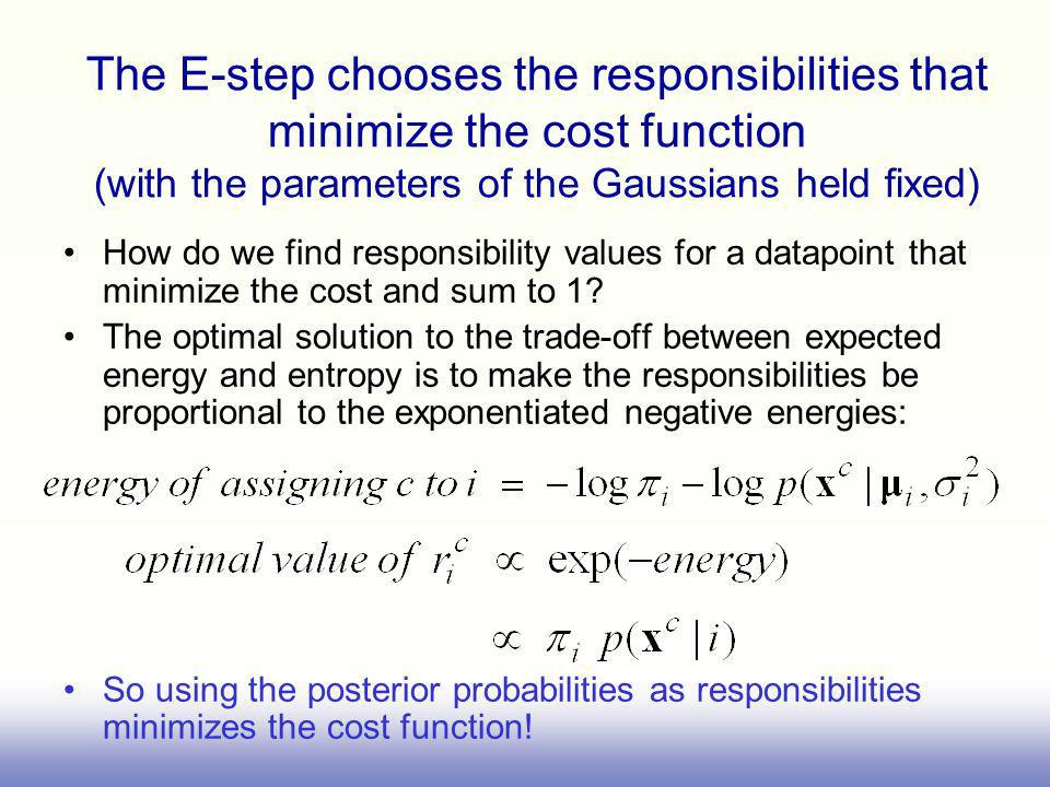 The E-step chooses the responsibilities that minimize the cost function (with the parameters of the Gaussians held fixed) How do we find responsibilit