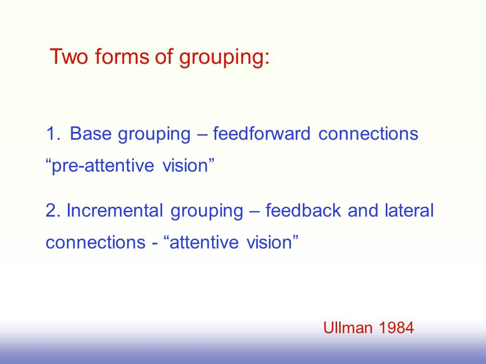 Two forms of grouping: 1.Base grouping – feedforward connections pre-attentive vision 2.