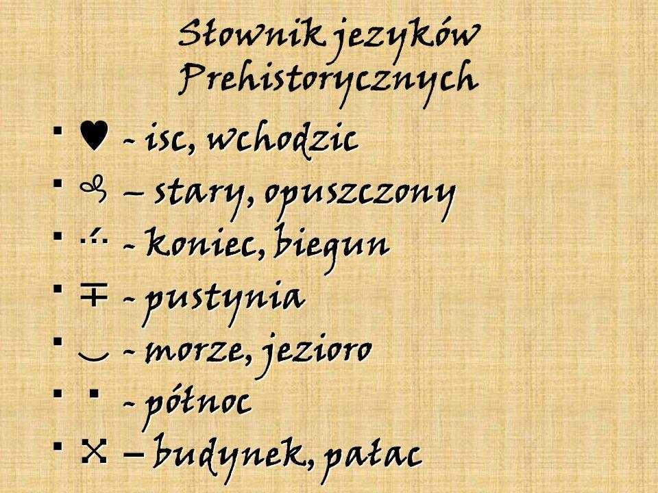 Słownik jezyków Prehistorycznych - isc, wchodzic - isc, wchodzic – stary, opuszczony – stary, opuszczony - koniec, biegun - koniec, biegun - pustynia
