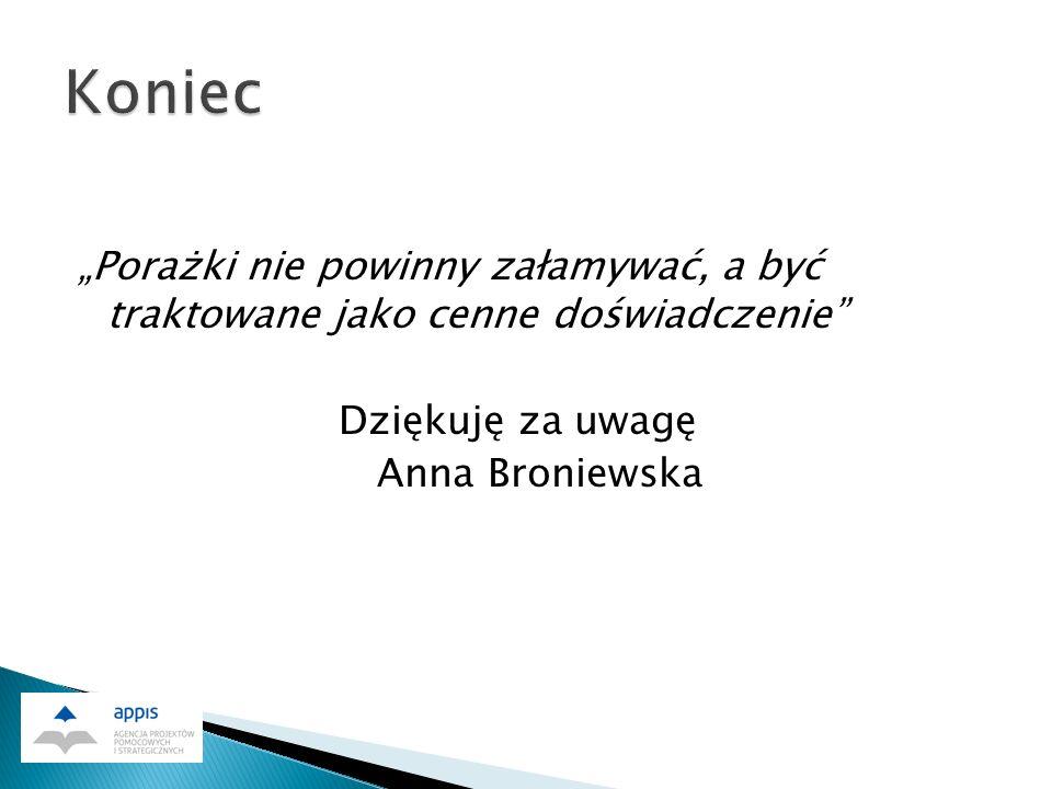 Porażki nie powinny załamywać, a być traktowane jako cenne doświadczenie Dziękuję za uwagę Anna Broniewska