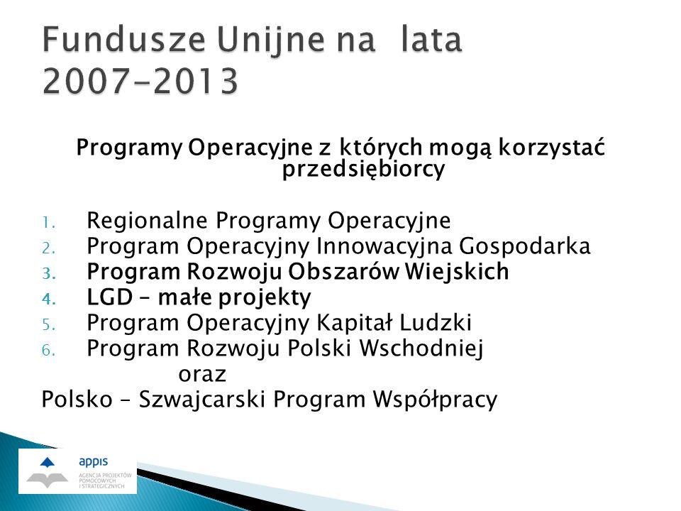Programy Operacyjne z których mogą korzystać przedsiębiorcy 1.