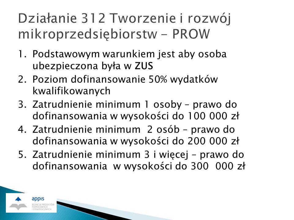 1.Podstawowym warunkiem jest aby osoba ubezpieczona była w ZUS 2.Poziom dofinansowanie 50% wydatków kwalifikowanych 3.